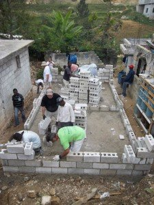 Building Haiti house with blocks